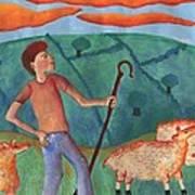 Shepherd Boy Detail Of Red Sky At Night Art Print