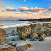 Shoreline Folly Beach Art Print by Jenny Ellen Photography