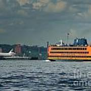 Shuttle Enterprise Glides Past Staten Island Ferry Print by Tom Callan