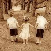 Siblings Taking A Walk Art Print