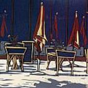 Sidewalk Cafe - Linocut Print Art Print by Annie Laurie