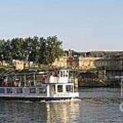 Sightseeing Boat On River Seine. Paris Art Print