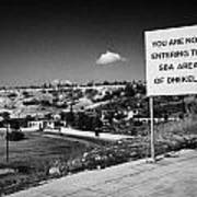 sign overlooking pyla and turkish controlled territory marking entrance of SBA Sovereign Base area Art Print