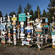 Sign Posts Forest In Watson Lake Yukon Art Print