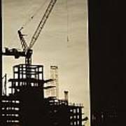 Silhouette Crane At A Skyscraper Art Print