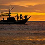 Silhouette Fisherman Boat Sunset Huahin Thailand Art Print by Arthit Somsakul