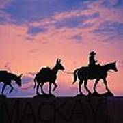 Silhouette Of Donkey Train Statue Art Print