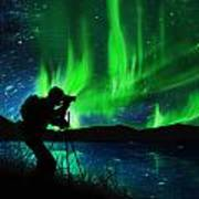 Silhouette Of Photographer Shooting Stars Art Print
