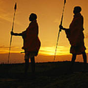 Silhouetted Laikipia Masai Guides Art Print by Richard Nowitz