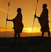 Silhouetted Laikipia Masai Guides Art Print