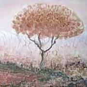 Silk Tree In Brown And Purple  Art Print