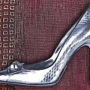 Silver Crocodile Pump Art Print