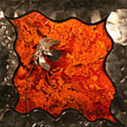 Silver Metal Flower On Orange Art Print