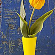 Single Yellow Tulip In Yellow Vase Art Print