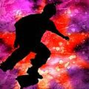 Skateboarder In Cosmic Clouds Art Print