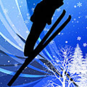 Ski Jumping In The Snow Art Print