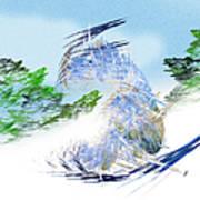 Ski Sledding Blue Polar Bear Art Print