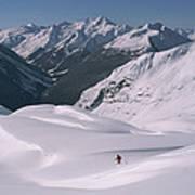 Skier Phil Atkinson Heads Down Mount Art Print