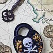 Skull And Cross Bones Lock Art Print by Garry Gay