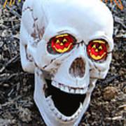 Skull Halloween Card Print by Debra     Vatalaro