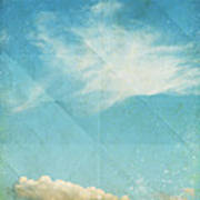 Sky And Cloud On Old Grunge Paper Art Print by Setsiri Silapasuwanchai