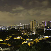 Skyline Of A Part Of Singapore At Night Art Print
