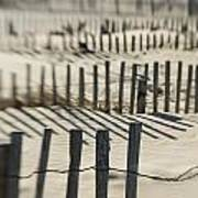 Slats Of Wooden Fence Throwing Shadows Art Print