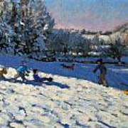 Sledging Near Youlgreave Art Print by Andrew Macara