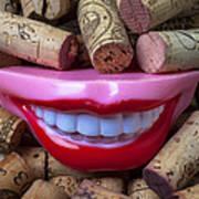 Smile Among Wine Corks Art Print