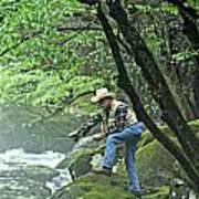 Smoky Mountain Angler Art Print