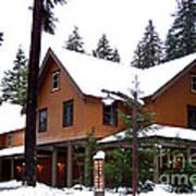 Snow Atop The Inn At Longmire Art Print by Kathy  White