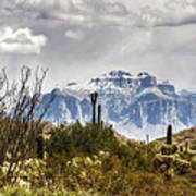 Snow Atop The Superstitions Art Print
