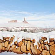 Snow Covered Rock Wall Art Print