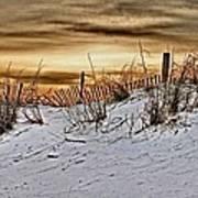 Snow Fence On Horizon Art Print
