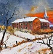 Snow In Houyet Art Print