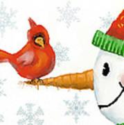 Snowman And The Cardinal Art Print