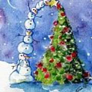 Snowman Christmas Tree Art Print