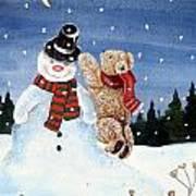 Snowman In Top Hat Art Print by Gordon Lavender