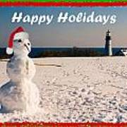 Snowman With Santa Hat Art Print