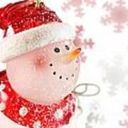Snowman With Snowflakes  Art Print
