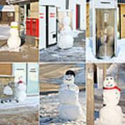 Snowmen Antics. Art Print by Kelly Nelson