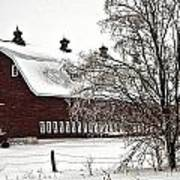 Snowy Red Barn Art Print