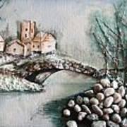 Snowy Village Art Print by Rejeena Niaz