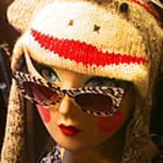 Sock Monkey Zebra Glasses Art Print