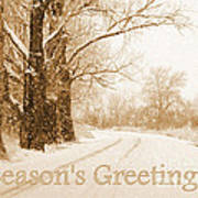 Soft Sepia Season's Greetings Card Art Print by Carol Groenen