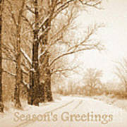 Soft Sepia Season's Greetings Art Print