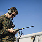 Soldier Conducts A Communications Check Art Print