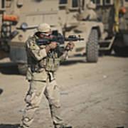 Soldier Fires A M4 Carbine Art Print