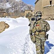 Soldiers Conduct A Patrol In Shah Joy Art Print