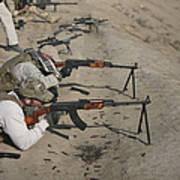 Soldiers Fire A Russian Rpk Kalashnikov Art Print